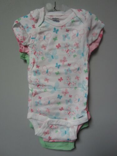 Gerber Baby Girl 3-Pk Green//Pink Butterfly Onesies Size 3-9M BABY CLOTHES GIFT