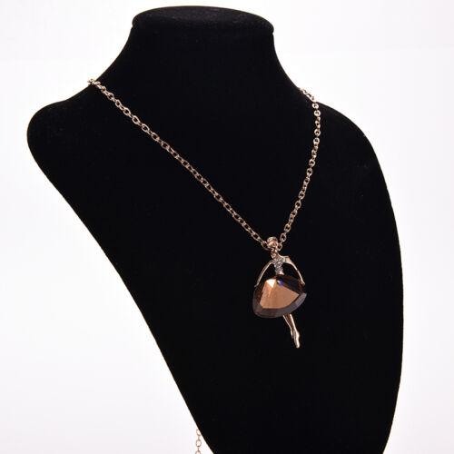 Schicke Kette Halskette Lange Pullover Ketten Ballerina Dancer Anhänger Rh