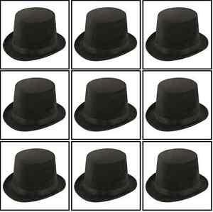 10-x-Black-Tall-Adult-Top-Hat-Magician-Fancy-Dress-Ringmaster-Stiff-Hats-QRU0023