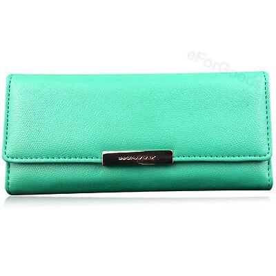 New Women Fashion PU Leather Wallet Button Clutch Purse Lady Long Handbag Bag