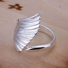*UK* 925 SILVER PLATED ADJUSTABLE OPEN BAND RINGS feather wing band cuff gift UK