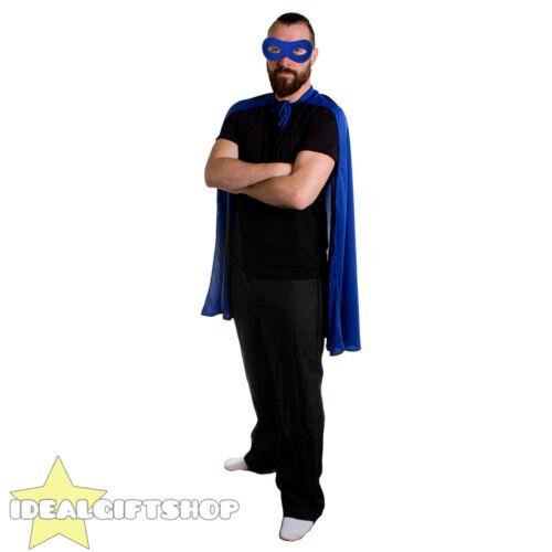 BLUE ADULTS SUPERHERO CAPE MASK FANCY DRESS COSTUME COMIC FILM HERO HALLOWEEN