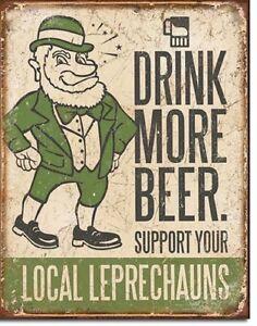 Leprechauns-Drink-More-Beer-TIN-SIGN-irish-pub-bar-decor-funny-metal-poster-1827