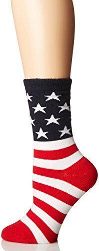 K Bell American Flag  Red//White//Blue Women/'s Crew Socks