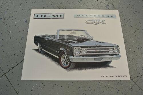 NOS 1967 Plymouth Hemi Belvedere GTX Art Picture Print Dealer Advertising MOPAR