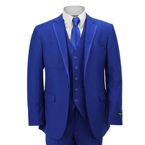 Mens 3 Piece Royal Blue Formal Casual Fitted Suit Trim Lapel Wedding Prom Party