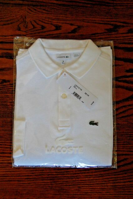 052993514 Lacoste Long Sleeve Classic Pique Polo Boys Sz 14 White NWT NEW | eBay