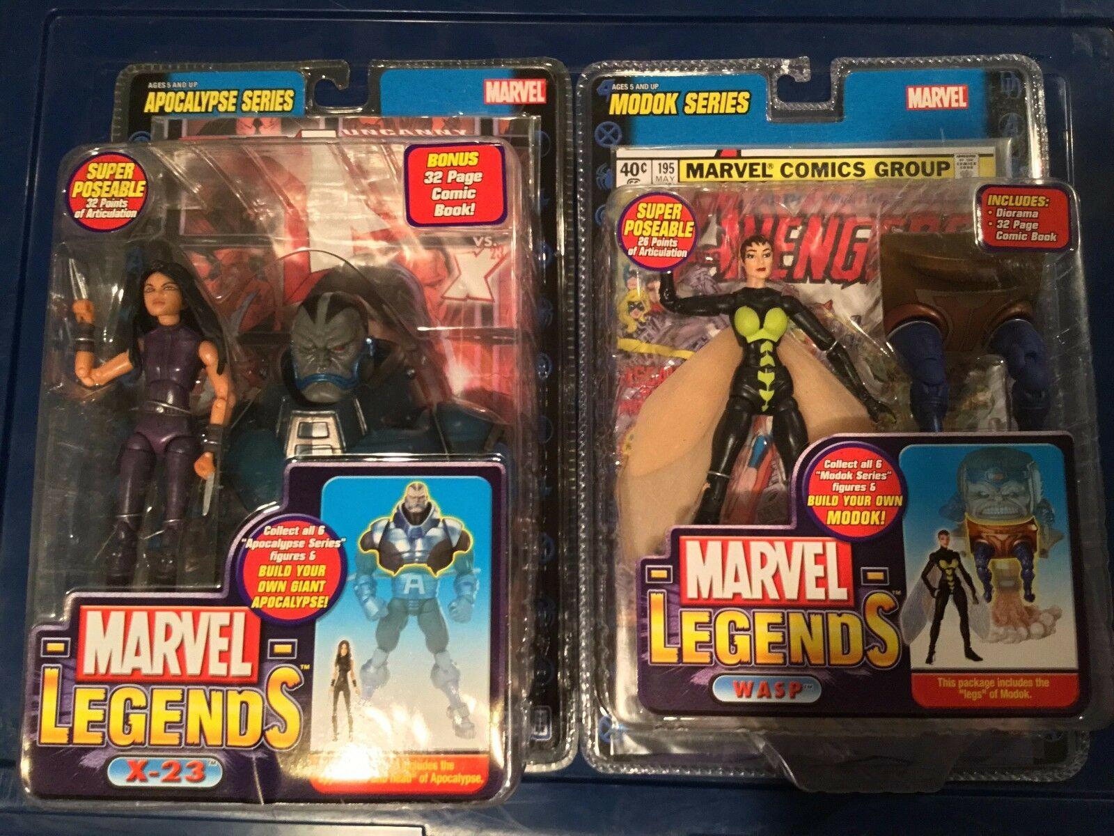 Marvel Legends X-23 and Wasp action figures MIP