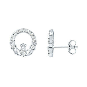 14K White Gold Over Claddagh Style Round Diamond Stud Earrings For Womens
