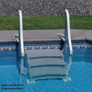 Inground Swimming Pool Ladder In Ground Stair Case Steps Deck Access Easy Entry Ebay
