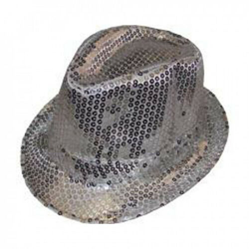 Cappello con paillettes argento