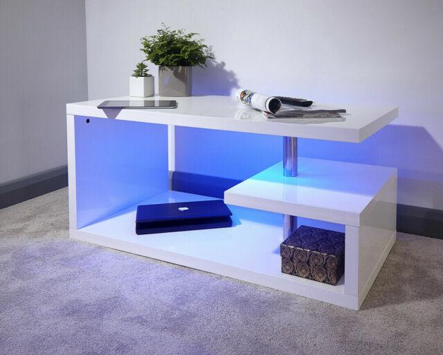 Grey#Coffee Table GFW Furniture Polar High Gloss Modern LED Lit Coffee Table Side Table /& TV Unit