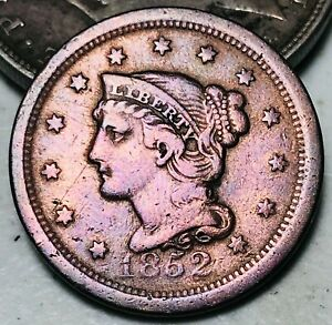 1852 Large Cent Matron Braided Hair 1C Higher Grade Detail US Copper Coin CC6177