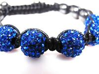 Blue Crystal Hematite 10mm Beaded Shamballa Disco Ball Bracelet 12