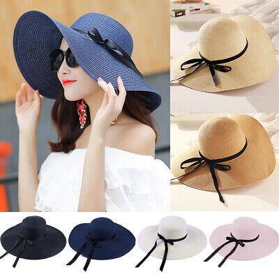 UK Women Ladies Summer Big Wide Brim Straw Hat Floppy Beach Sun Foldable Cap