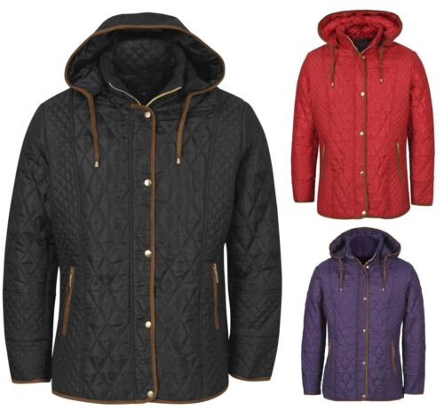 Nouvelle robe plus taille noir rouge manteau matelassé rembourré veste à capuche zipp taille 10-26