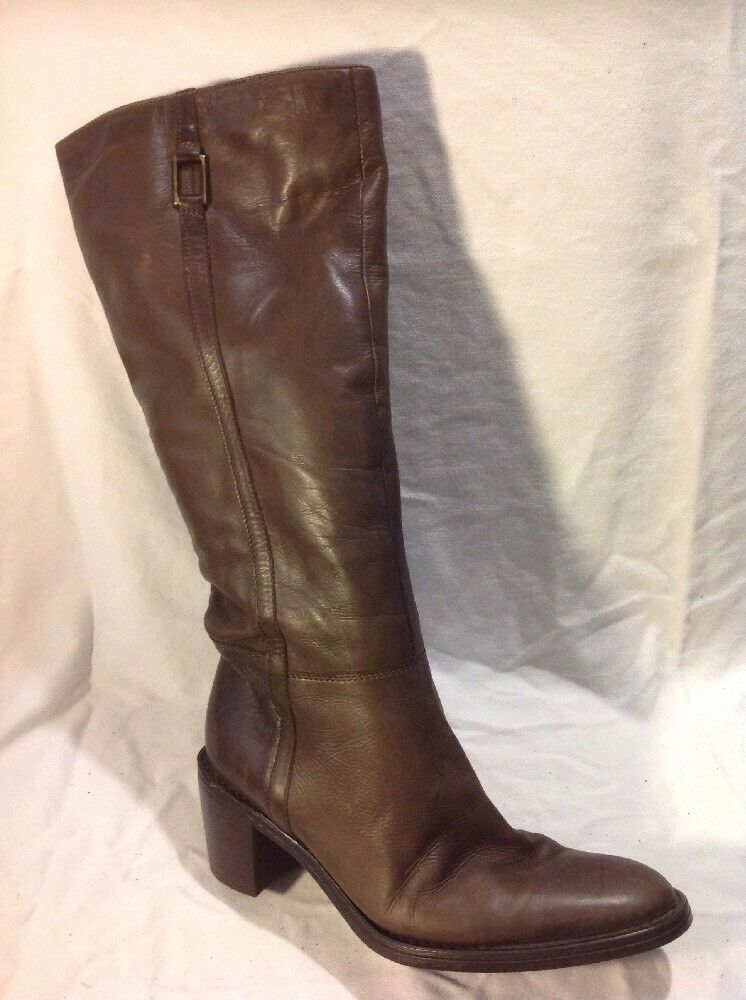 Ladies Brown Knee High Leather Boots Size 37