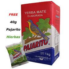 1 kg YERBA MATE PAJARITO ELABORADA tea plus 40g FREE PAJARITO HIERBAS PACK