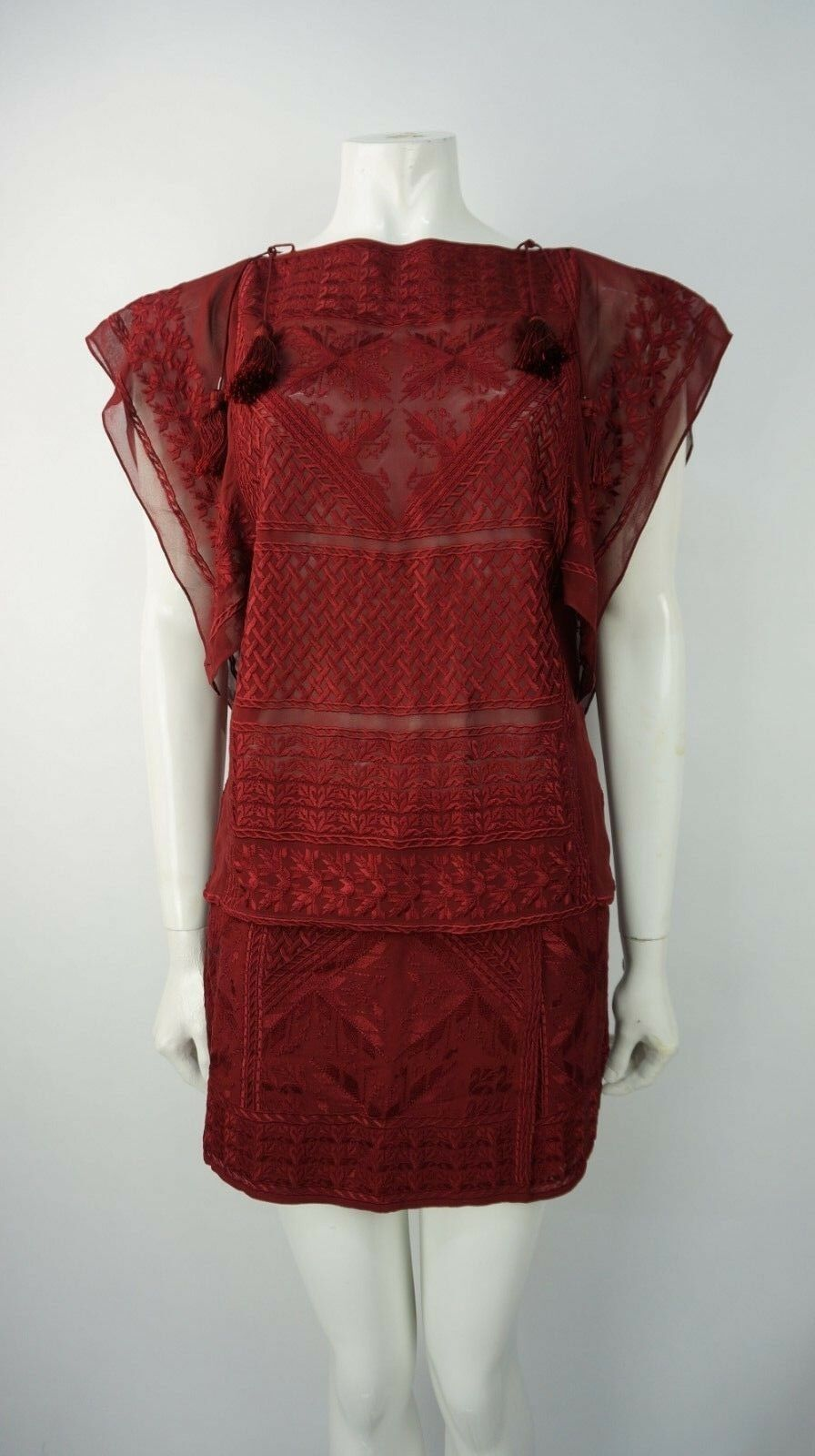Isabel Marant rosso Silk Top & & & Skirt Co-Ord ABITO OUTFIT TAGLIA 05aa43