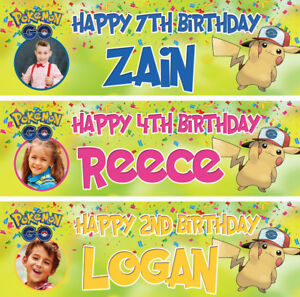 2-X-Personnalise-Pokemon-Anniversaire-Banniere-Photo-PIKACHU-Enfants-Party-Deco