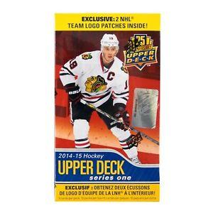 2014-15-Upper-Deck-Series-1-Hockey-12-Pack-Box-PLUS-2-Team-Logo-Patches-rare