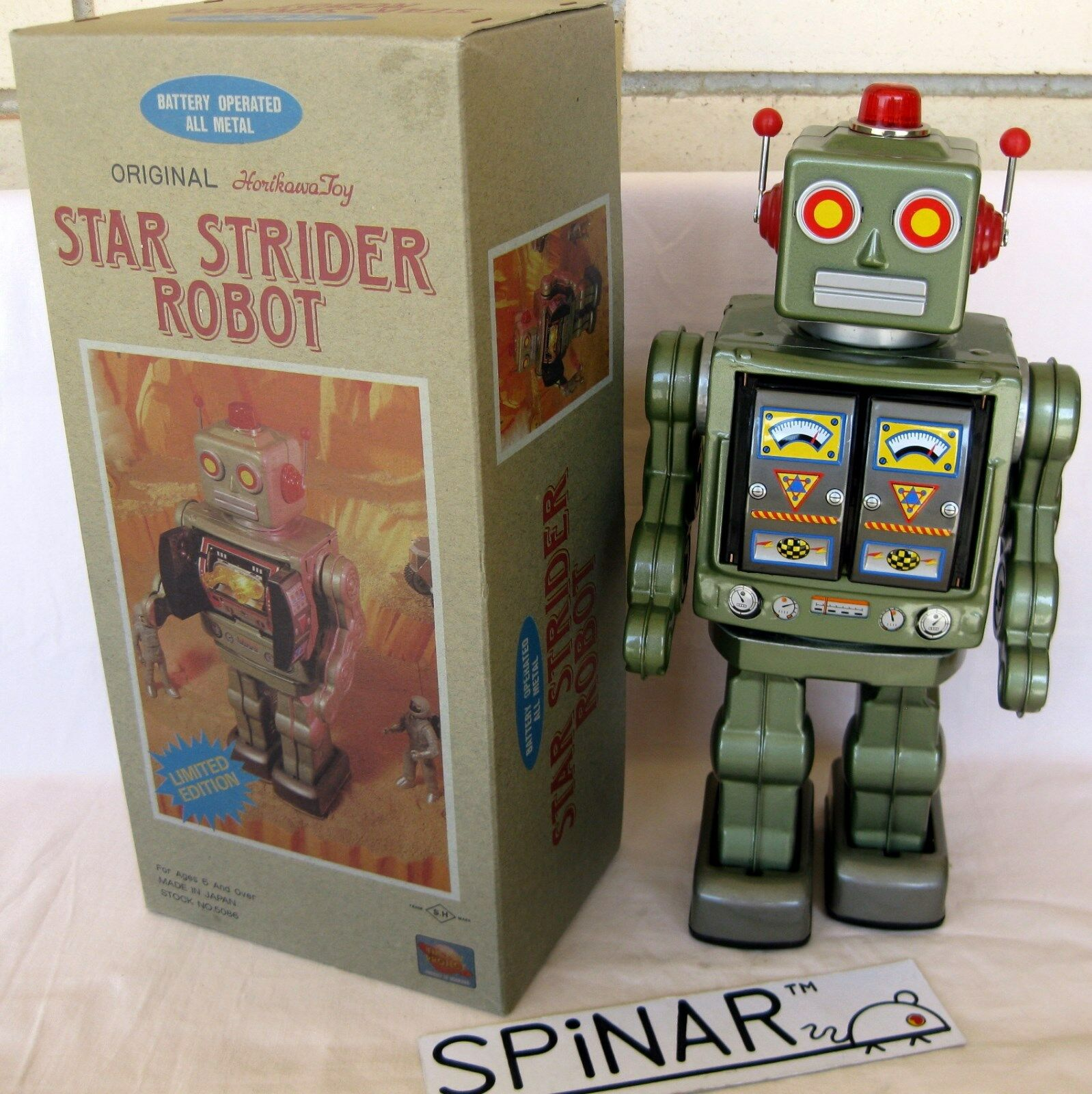 Original HORIKAWA Tin Toy - STAR STRIDER ROBOT - JAPAN - Metallic verde Version