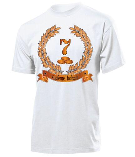 KUPFERNE HOCHZEIT 7 JAHRE EHE T-Shirt Herren S-XXL Jubiläum Deko HOCHZEITSTAG