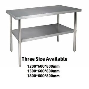 Image is loading Commercial-Stainless-Steel-Kitchen-Work-Bench-Catering- Table-  sc 1 st  eBay & Commercial Stainless Steel Kitchen Work Bench Catering Table Shelf ...