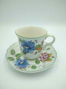Mikasa-Country-Classics-HEIRLOOM-Cup-Saucer-Butterfly-Flowers-Discontinued
