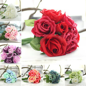 9Head Artificial Rose Flowers For Bouquet Home Wedding Party Bridal Vase Decor .
