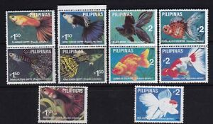 Philippines-1992-Marine-Life-Fishes-GOLD-FISH-Guppy-10-diff-values-Mint-NH