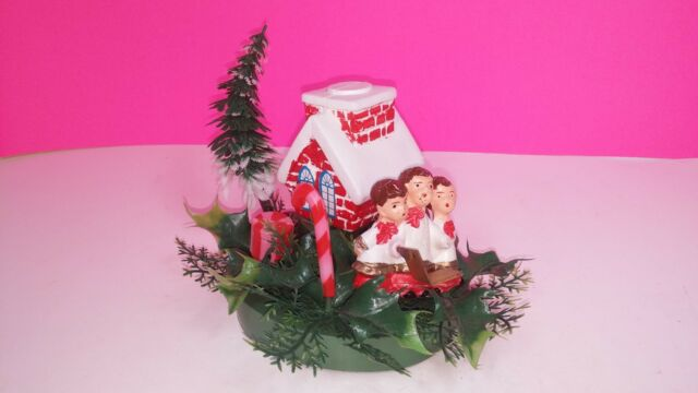 vintage plastic christmas decoration caroling children outside church holly 1950 - Vintage Plastic Christmas Decorations