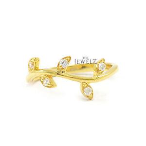 14K-Gold-0-06-Ct-Genuine-Diamond-Leaf-Design-Ring-Fine-Jewelry-Size-3t-o-8-US
