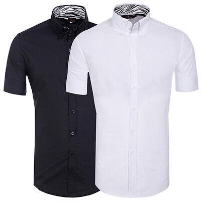 >>1 SALE Men Short Sleeve Casual Formal Dress Shirts Slim Fit Polo Shirt T Shirt