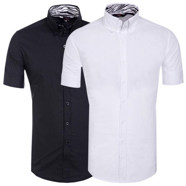 TOP-Design Herrenhemd Kurzarm Hemd Poloshirt T-Shirt Figurbetont Freizeithemden