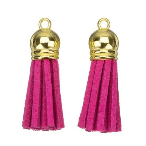F35//3 Suede Tassel Charms with Gold Cap for Jewellery /& Crafts Dark Pink 36mm