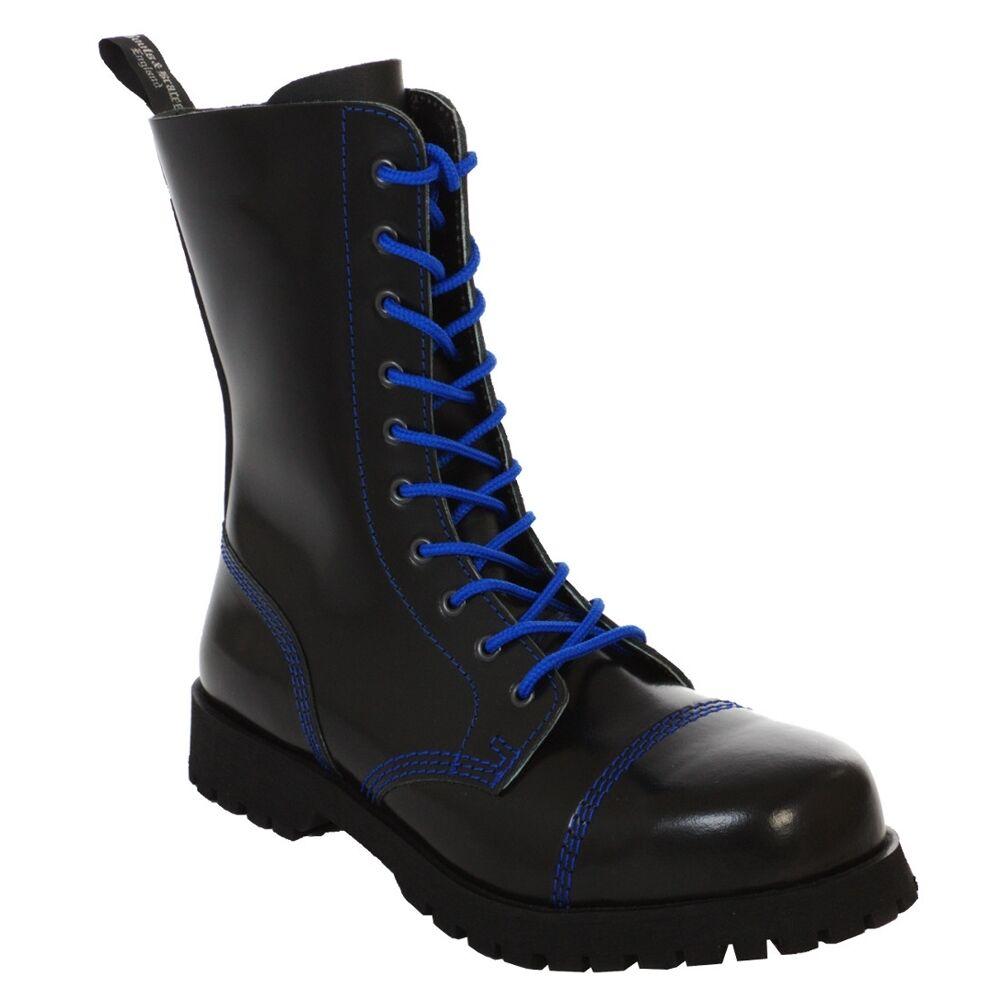 Boots & Braces - 10 Loch black mit blueer Naht Stiefel Rangers