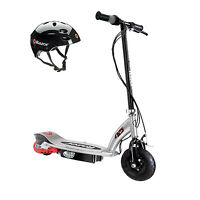 Razor E125 Motorized 24-volt Electric Scooter, Black + Razor Youth Helmet, Black