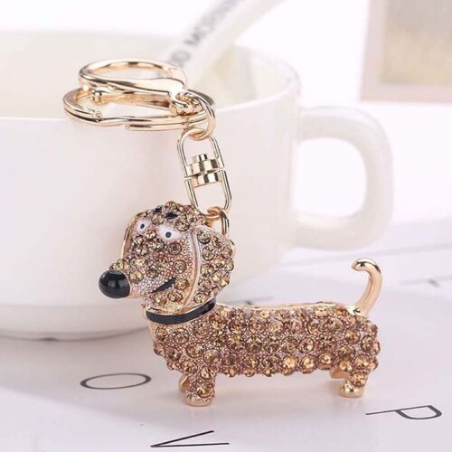 Fashion Crystal Dog Dachshund Keychain Women Girl Bag Charm Pendant Keys Holder