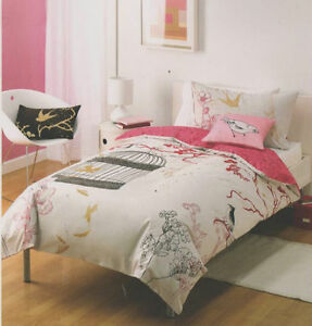 Birds-Of-A-Feather-Oriental-Beige-Pink-Single-Quilt-Doona-Cover-Set-Cushion