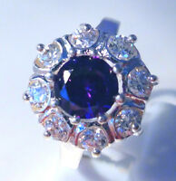Gorgeous Amethyst/white Topaz Ring Uk Size p Us 8