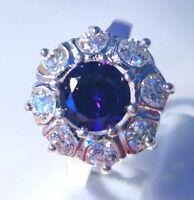 Gorgeous Amethyst/white Topaz Ring Uk Size p Us 8