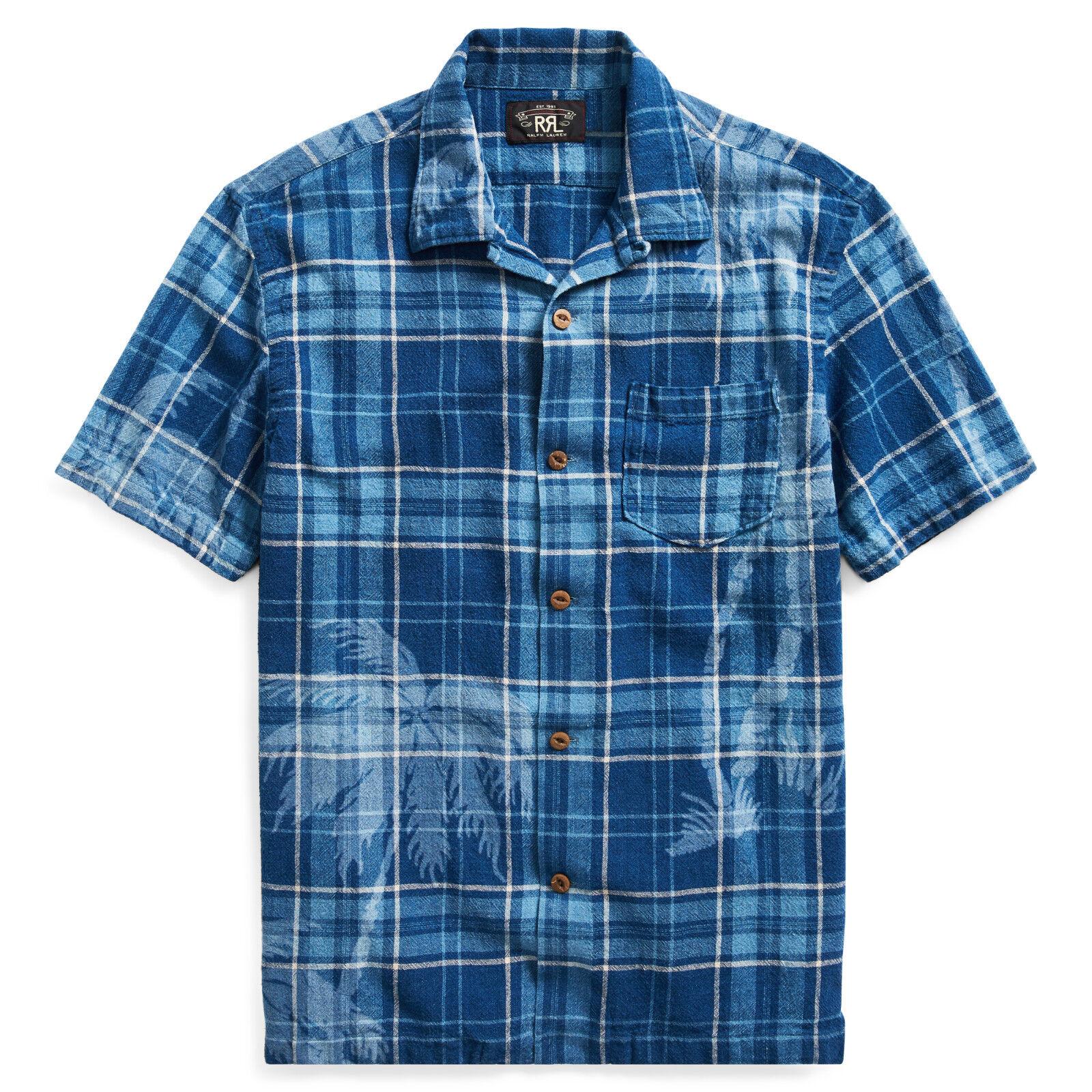 Ralph Lauren Rrl Indigo Baumwolle Leinen Farrell Palmen Motiv Camp Shirt Neu     | Vollständige Spezifikation