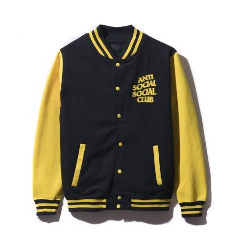 Anti Social Social Club Dropout Letterman Jacket Yellow Black Size S M L XL