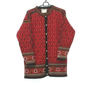 Dale-of-Norway-Nordic-Button-Jumper-Cardigan-Red-Pure-Wool-Fairisle-Womens-Sz-S