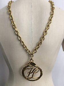 Vintage-Karl-Lagerfeld-Goldtone-Logo-Medallion-Necklace-Hip-Hop-Rapper