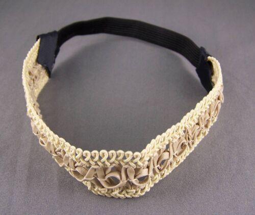 "Tan beige faux leather 1.25/"" wide stretch elastic headband kids girls childrens"