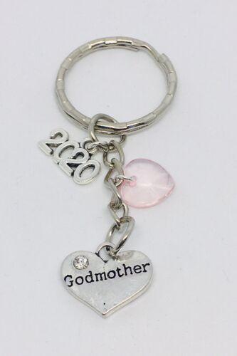 Christening girl pink godmother godfather 2020 keepsake keyring /& gift bag