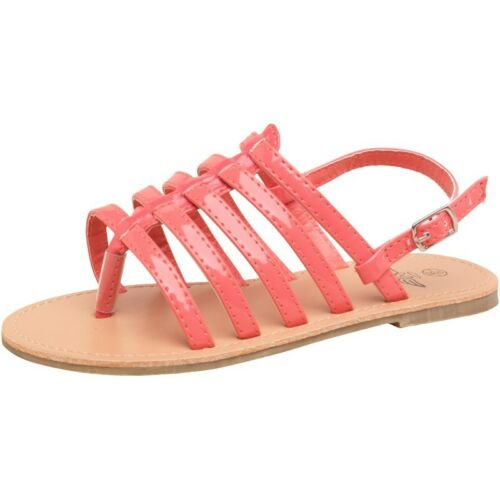 Girls strappy peach pink coral colour sandals in size 10 and 11 uk