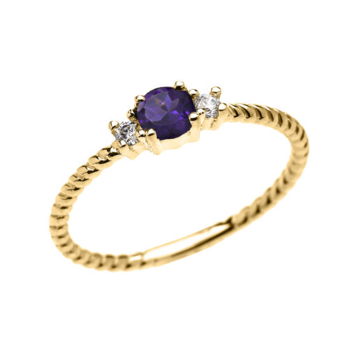 14k Yellow Gold Dainty Solitaire Amethyst /& White Topaz Rope Stackable Ring
